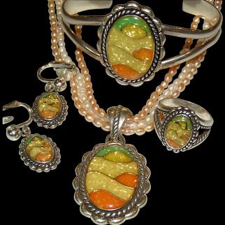 Carolyn Pollack Relios Bracelet Earrings Ring Enhancer Southwestern Sterling Inlay