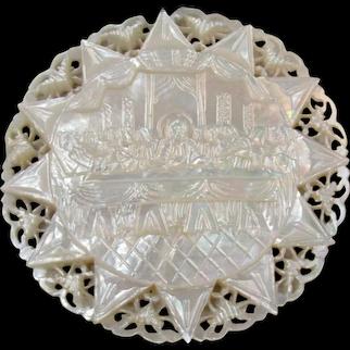 Vintage 1946 Genuine Jerusalem Carved Mother of Pearl Medallion Last Supper Religious