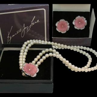 """Vintage KJL Necklace Earrings Set Kenneth Jay Lane """"Perfect Pansies"""" Estate Find"""