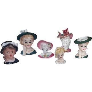 5 Retro Ceramic Lady Head Vases