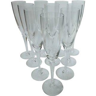 Saint-Louis, Vintage French Champagne Flutes  Set of 10