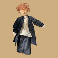 Primitive Antique Folk Art Gentleman Cloth Doll, Wigged, Hand Painted and Stitch molded Face-Superb!
