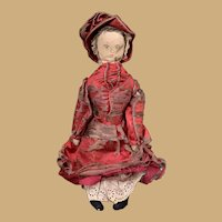 16 Inch Antique Early Americana Folk Art Cloth Doll-Hand Painted/Drawn Face-Original Silk Dress and Bonnet