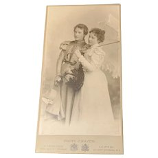 Stunning Nicola Perscheid Cabinet card 8 inches by 4.5 inches, Two women-soft focus, Leipzig Studio Circa 1898