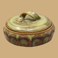 Vintage Mid-Century Modern (MCM) Studio Stoneware Casserole Dish With Twisted Strap Handle