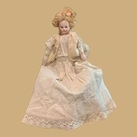 "Antique Petite 10"" bisque dome shoulder head doll-Sawdust stuffed- antique costume and lovely molded boots"