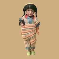 "Antique Native American German Bisque doll with papoose, 11"" Original Factory Costume"