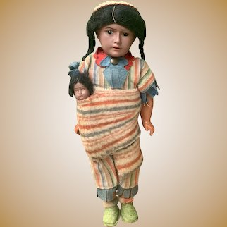 """Antique Native American German Bisque doll with papoose, 11"""" Original Factory Costume"""
