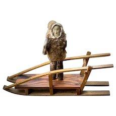 Antique Native American Iñupiat Eskimo Carved Human Figure Doll and Nunivak Sled