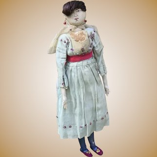 STUNNING Edwardian Cloth Doll Painted face Human hair Wonderful Costume 15 inches