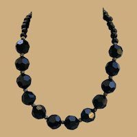 Vintage Victorian Revival Black Onyx faceted doll necklace for your German or French doll