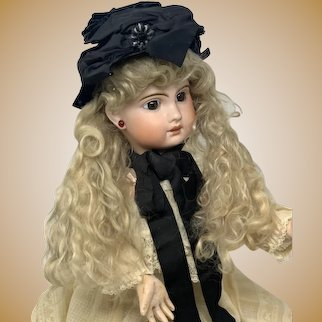 Antique Ca 1800 Victorian Silk and Velvet Bonnet for your French Jumeau or German doll