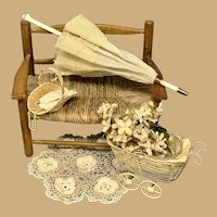 Lovely Antique Silk and Lace parasol for your French Fashion Doll-11.5""