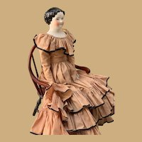 Civil War Era Flat Top China Doll-23""