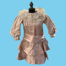 Antique silk pleated dress for your French Bebe or German doll-Beautiful blush pink-All original