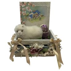 Adorable Easter Display for your Antique Doll-Miniature sheep Antique french trim, flowers, basket, egg and more!
