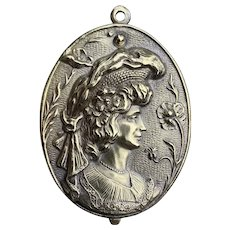 Antique French  Art Nouveau Sliding mirror locket pendant-Stunning unique Cameo and flower motif 10K plate over 500 silver