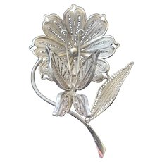 Art Nouveau Cannetille Filigree Dandelion and Butterfly Brooch-Very Large and Ornate! 925 Silver