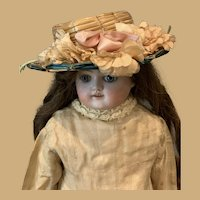 Antique Straw Hat for Your French or German Doll-Beautiful Silk Millinery Flowers ca 1890