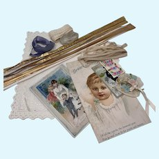 Antique materials for Presentation or Room box-Lace, Victorian Trade cards, Dresden trim and more