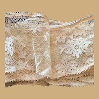 "Antique French Silk Tulle Lace Edging Embroidery  -Hand made and Delicate! 3"" Very Wide (2 Yards) ca 1890s"