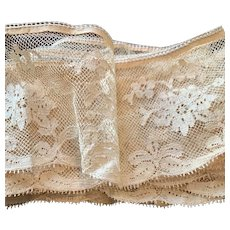 """Antique French Silk Tulle Lace Edging Embroidery  -Hand made and Delicate! 3"""" Very Wide (2 Yards) ca 1890s"""