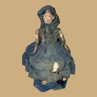 "Antique 19th Century Oil Painted Cloth Doll With Applied Ears -22"" Original dress and unders!"