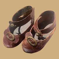 Antique French Leather shoes for your Bebe- 3 1/4""