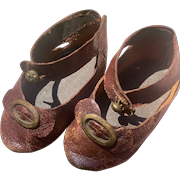 """Antique French Leather shoes for your Bebe- 3 1/4"""""""