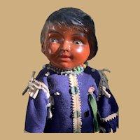 """RARE All Original Averill Native American Composition And cloth Doll 19"""""""