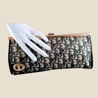 Vintage Christian Dior Black Grey Tan Diorissimo Canvas Clutch
