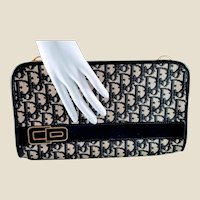 Rare Vintage Christian Dior Black Grey  Diorissimo Canvas Clutch/Shoulder Bag