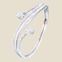 18K 2.82ctw Diamond Flower Bangle