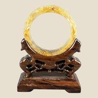 Vintage Carved Rutilated Quartz Dragons and Pheonix Wedding Bangle - Wearable Art