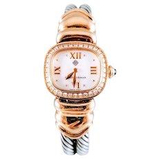 David Yurman Sterling Silver, 18K Yellow Gold and Diamonds Cable Quartz Watch