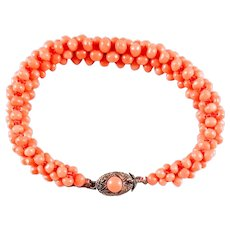 Vintage Salmon Coral Braided Bead Bracelet