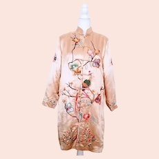 Vintage Cream Silk Embroidered Duster / Jacket, Sz Small