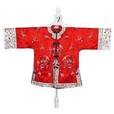 Vintage Red Silk Embroidered  Jacket, Sz Medium
