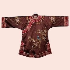Vintage Brown Silk Hand Embroidered Chinese Qing Style Top, Sz Medium