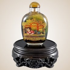 Custom Made Crystal Quartz Snuff Bottle with Qing Palace Theme Artwork