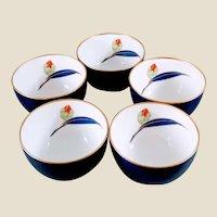 Vintage Japanese Porcelain Tea Cups - Set of 5