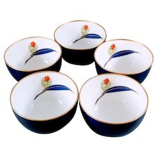 Vintage Japanese Porcelain Tea Cups - Set of 5