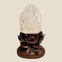 Carved Crystal Quartz Yellow Jambhala , God of Wealth