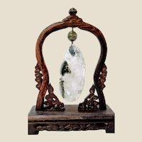 Carved Crystal Quartz Dragon on Wenge Wood Stand