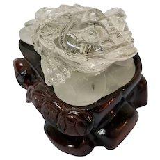Carved Crystal Quartz, Three Legged Money Frog