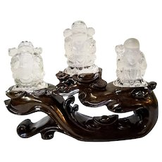Carved Crystal Quartz, Fu, Lu, Shou, Three Chinese Auspicious Deities