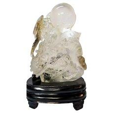 Vintage Carved Crystal Quartz, Dragon with Sphere