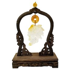 Carved Crystal Quartz on Wenge Wood Stand