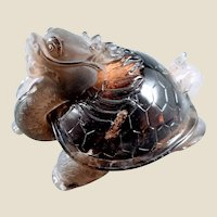 Carved Morion Smoky Quartz Mystical Figure Dragon Turtle
