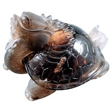 Carved Morion Smoky Quartz Mystical Figure Dragon Turtle